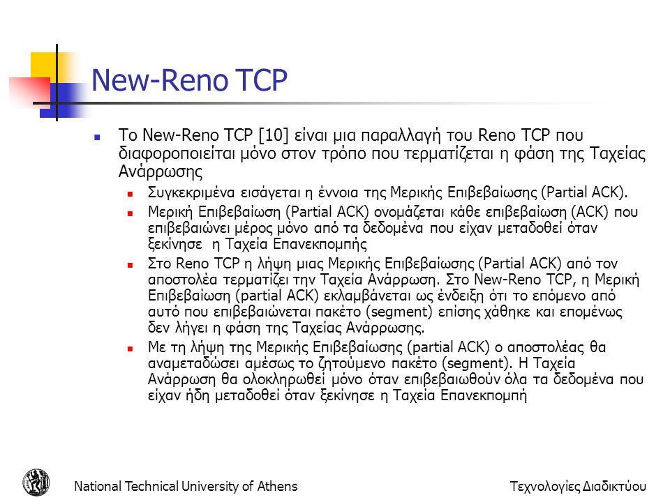 New-Reno TCP Το New-Reno TCP [10] είναι μια παραλλαγή του Reno TCP που διαφοροποιείται μόνο στον τρόπο που τερματίζεται η φάση της Ταχείας Ανάρρωσης.